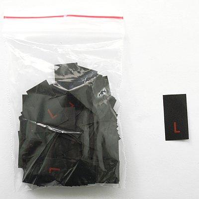 Размерники в пакетике (уп. 200 шт.) «L» красн. на черн. в интернет-магазине Швейпрофи.рф
