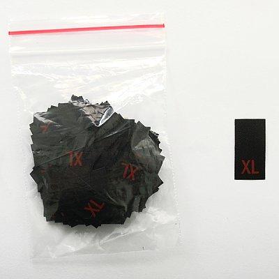 Размерники в пакетике (уп. 200 шт.) «XL» красн. на черн. в интернет-магазине Швейпрофи.рф
