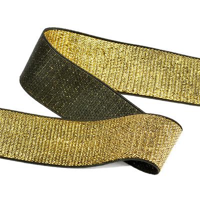 Резинка 30 мм TBY ET.30BLG металлизир. черный/золото (уп 30м) в интернет-магазине Швейпрофи.рф