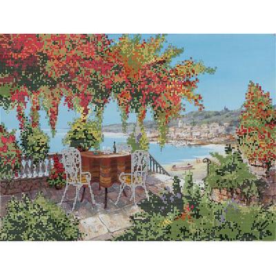 Ткань для вышивания бисером Астрея (Gluria) 71023 «Столики у моря» 30*39,5 см в интернет-магазине Швейпрофи.рф