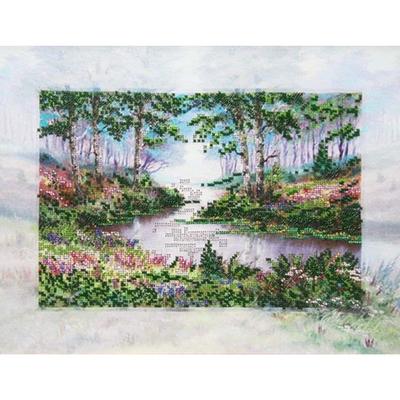 Ткань для вышивания бисером Астрея (Gluria) 71444 «Лесная речка» 29*40 см в интернет-магазине Швейпрофи.рф