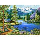 Рисунок для вышивания бисером Каролинка КБП-3036 «Домик у озера» 35*26 см