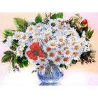 Рисунок для вышивания бисером Каролинка КБЦ-3022 «Ромашки в вазе» 28*35 см