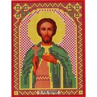 Ткань для вышивания бисером «Русская сказка МК-030 Св. Евгений» 12*16 см