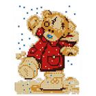 Рисунок на габардине «Русская сказка ЧБ-Д-053 Мишка Тедди» 12*16 см