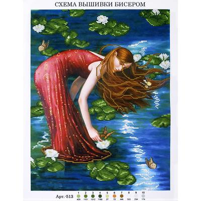 Рисунок на габардине А3 БИС 513 «Девушка в лилиях» 33*45 см в интернет-магазине Швейпрофи.рф