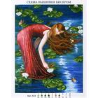 Рисунок на габардине А3 БИС 513 «Девушка в лилиях» 33*45 см