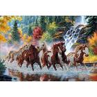 Рисунок на габардине А3 КМЧ-3341 «Лошади на реке» 25*37 см