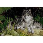 Рисунок на габардине А3 КМЧ-3457 «Пара волков» 25*37 см