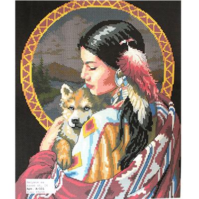 Рисунок на канве Гелиос А-001 «Индейская девушка» 33*39 см в интернет-магазине Швейпрофи.рф