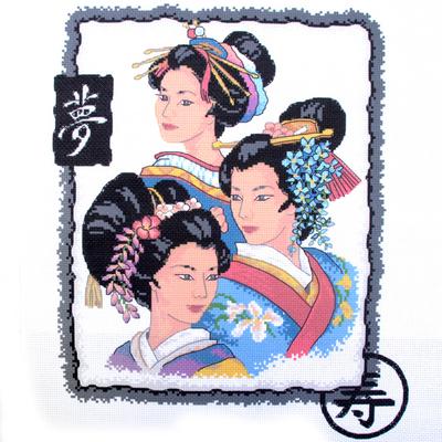 Рисунок на канве Гелиос А-005  «Японские красавицы» 33*40 см в интернет-магазине Швейпрофи.рф