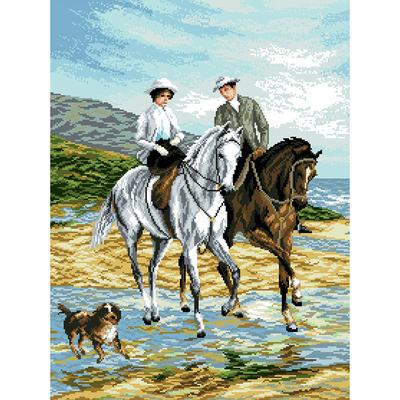 Рисунок на канве Гелиос А-011 «Прогулка на лошадях» 57*43,5 см в интернет-магазине Швейпрофи.рф