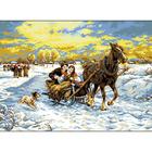 Рисунок на канве Гелиос П-079 «Зимняя поездка» 42*55 см