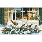 Рисунок на канве Гелиос Ф-038 «Три котёнка у окна» 34,5*51,5 см