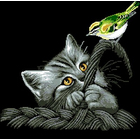 Рисунок на канве Гелиос Ф-045 «Котенок с птичкой» 43,5*43,5 см