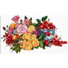 Рисунок на канве Гелиос Ц-046 «Букет цветов и черешенки в вазе» 42*66 см