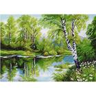 Рисунок на канве МП (37*49 см) 1020 «Берёзы у озера»