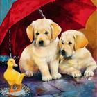 Рисунок на полотне (19*19 см) МА-022 Двое под зонтом