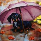 Рисунок на полотне (19*19 см) МА-022А  Под зонтом