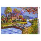 Рисунок на полотне А3 E-0387 «Дом у реки» 29*39 см