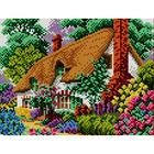 Рисунок на полотне А4 ЕА-017 «Дом в цветущем рае» 18*24 см