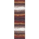 Пряжа СуперЛана Класик Батик (SuperLana Klasik Batik), 100 г / 280 м, 3380 бел.+коричн.+желт.