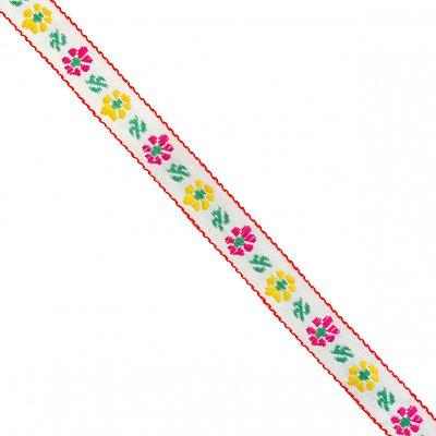 Тесьма 10 мм жаккард без люрекса бел. с малин./желт. цветами в интернет-магазине Швейпрофи.рф