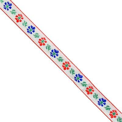 Тесьма 10 мм жаккард без люрекса бел. с син./красн. цветами в интернет-магазине Швейпрофи.рф