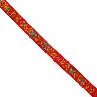 Тесьма 10 мм жаккард без люрекса красн. с син./желт. цветами в интернет-магазине Швейпрофи.рф