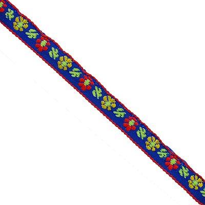 Тесьма 10 мм жаккард без люрекса син. с красн./желт. цветами в интернет-магазине Швейпрофи.рф
