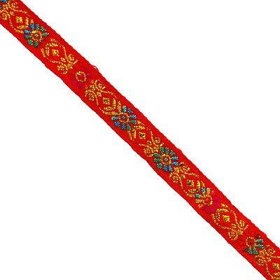 Тесьма 10 мм жаккард с люрексом красн. в интернет-магазине Швейпрофи.рф
