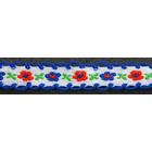 Тесьма 12 мм №А800 х/б с вышив. и петельк. 802 бел./син.
