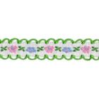 Тесьма 12 мм №А800 х/б с вышив. и петельк. 808 бел./зелён.