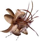 Цветок «Лилия» 6114 брошь-зажим+булавка 14,5 см т.-беж.