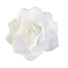 Цветок «Роза» 6095 брошь-зажим+булавка 7,7 см белый