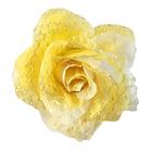 Цветок «Роза» 6095 брошь-зажим+булавка 7,7 см желтый