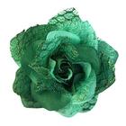 Цветок «Роза» 6095 брошь-зажим+булавка 7,7 см зеленый