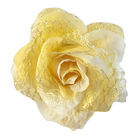 Цветок «Роза» 6095 брошь-зажим+булавка 7,7 см св.-желтый