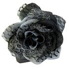 Цветок «Роза» 6095 брошь-зажим+булавка 7,7 см черный