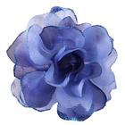 Цветок «Роза» 6108 брошь-зажим+булавка 13 см синий