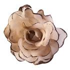 Цветок «Роза» 6108 брошь-зажим+булавка 13 см т.-беж.
