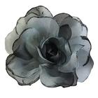 Цветок «Роза» 6108 брошь-зажим+булавка 13 см черный