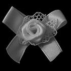 Цветы пришивные ВА-7267 розочка с кружевом белый