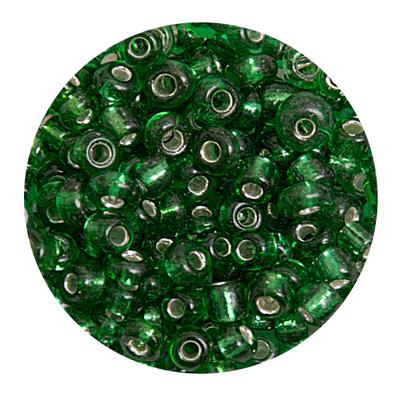 Бисер крупный Тайвань (уп. 10 г) 0027В зеленый с серебр. центром в интернет-магазине Швейпрофи.рф