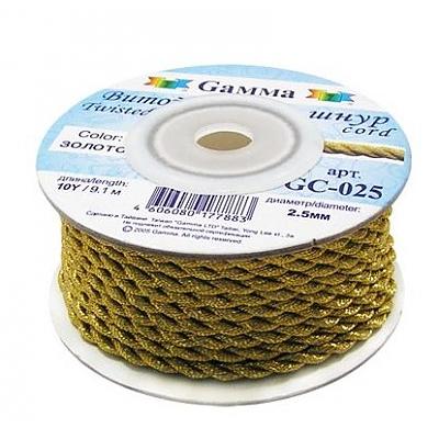Шнур декор. GC-025 2,5 мм (уп. 50 м) золото в интернет-магазине Швейпрофи.рф