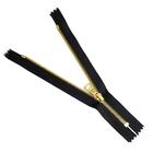 Молния TIT Т5 мет.  18 см золото/чёрный шлифованный