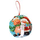 Набор для вышивания бисером Созвездие БИ-100  «Дедушка Мороз» новогодняя игрушка 8,5*8,5 см