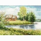 Набор для вышивания Золотое руно МД-016 «Домик у озера» 22*30 см