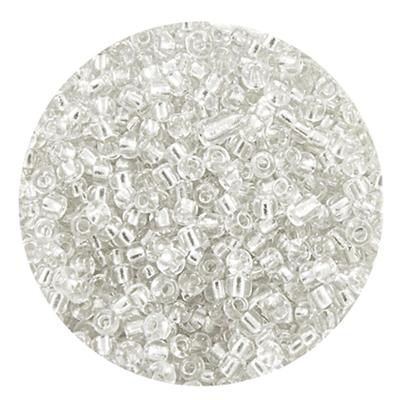 Бисер крупный Тайвань (уп. 10 г) 0021 белый с серебр. центром в интернет-магазине Швейпрофи.рф