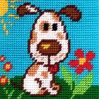 Набор для вышивания с пряжей BAMBINI  X2004 «Щенок на лужайке» 15*15 см
